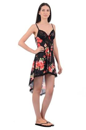 Womens Strappy Neck Regular Fit Printed Asymmetrical Baby Doll