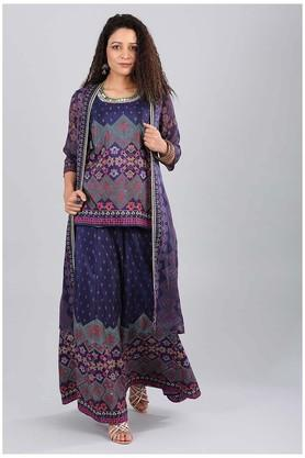 AURELIA Womens Round Neck Printed Tunic With Jacket And Palazzo Set