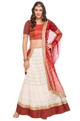 Womens Round Neck Assorted Lehenga Choli and Dupatta Set