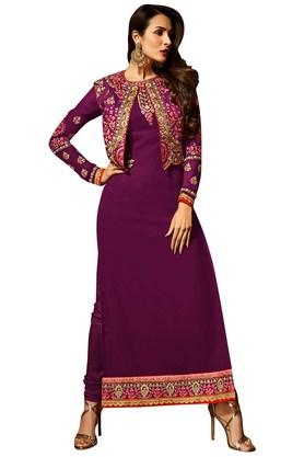 VRITIKA Womens Impressive Purple A-Line Suit With Koti