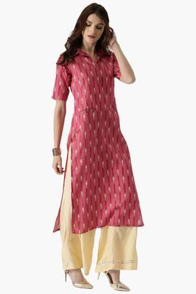 LIBAS Womens Cotton Straight Printed Kurta With Front Pocket - 203450469