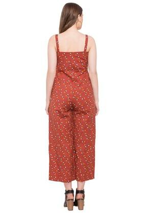 Womens Square Neck Printed Jumpsuit