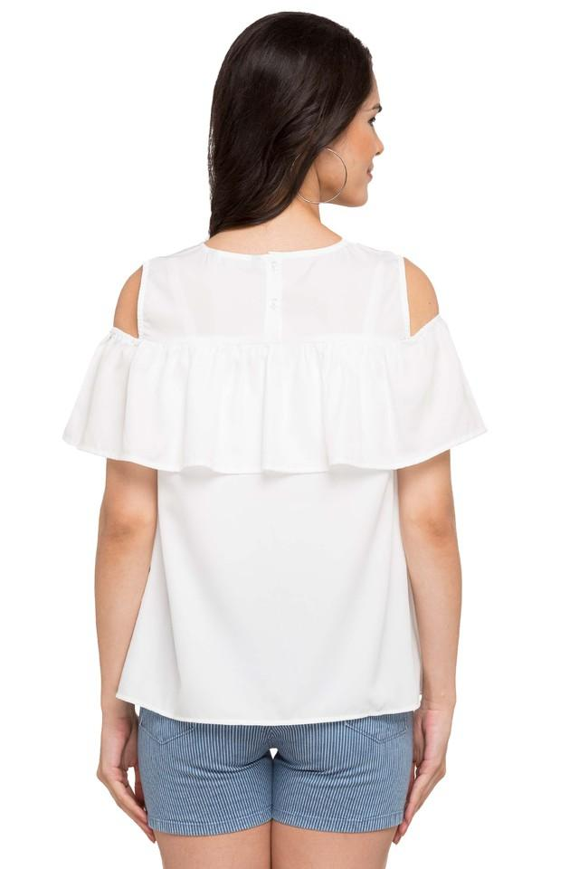 Womens Cold Shoulder Sleeves Solid Top
