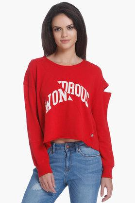 ONLY Womens Round Neck Printed Sweater