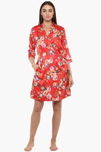 c4acfea335f Buy SWEET DREAMS Womens Surplice Neck Floral Print Robe and Night Dress Set