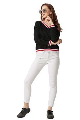 Womens V-Neck Solid Sweatshirt