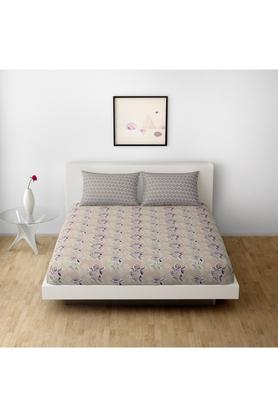SPACESCotton Printed Double Bedsheet With 2 Pillow Covers - 203257378_9900