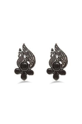 Womens Peacock Stone Studded Silver Plated Stud Earrings