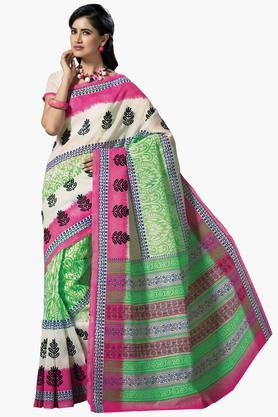 DEMARCA Womens Cotton Blend Printed Saree - 203229469