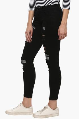 Womens 5 Pocket Coated Distressed Jeans