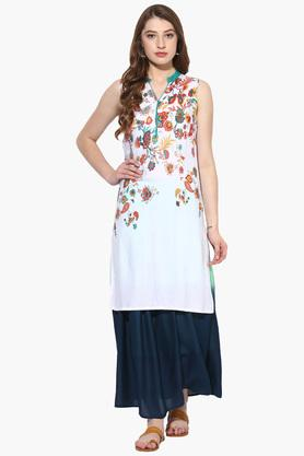 JUNIPER Womens Floral Print High Low Kurta With Long Skirt