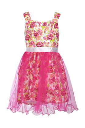 Girls Square Neck Printed Layered Dress