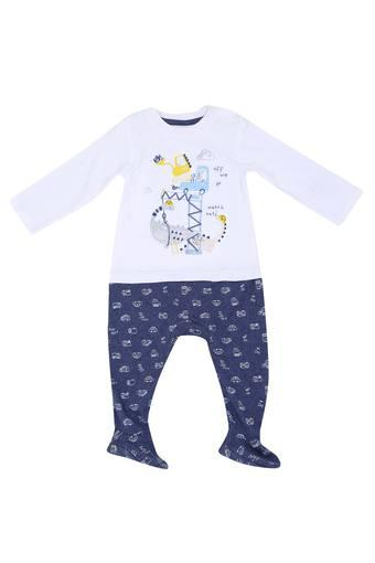 Kids Round Neck Printed Pant & Tee Set