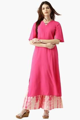 LIBAS Womens Solid Straight Kurta With Printed Chanderi Palazzo