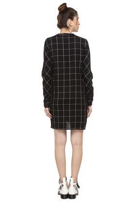 Womens Mandarin Neck Checked Shirt Dress