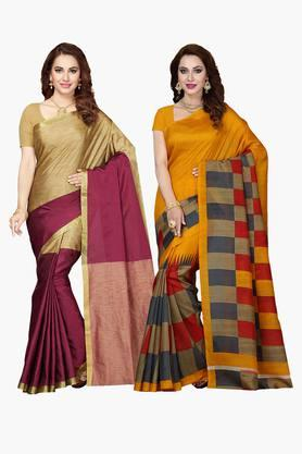 ISHIN Womens Bhagalpuri Art Silk Printed Saree - Set Of 2