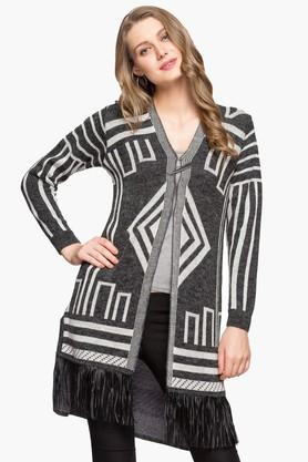 ONER Womens V-neck Printed Cardigan - 203138531