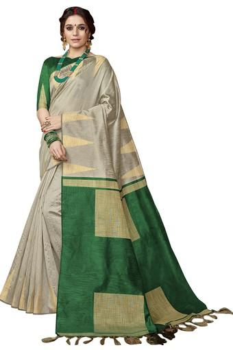 Womens Colour Block Woven Saree with Blouse Piece