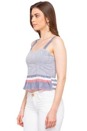 Womens Spaghetti Neck Striped Top