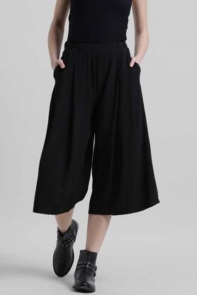Womens 2 Pocket Solid Culottes