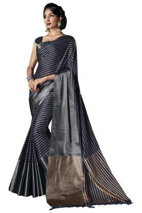 ISHINWomens Striped Zari Border Saree - 203925350_9204