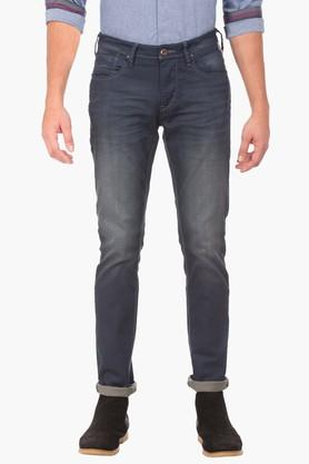 F2000 Mens Tapered Fit Mild Wash Jeans (Micheal Fit)