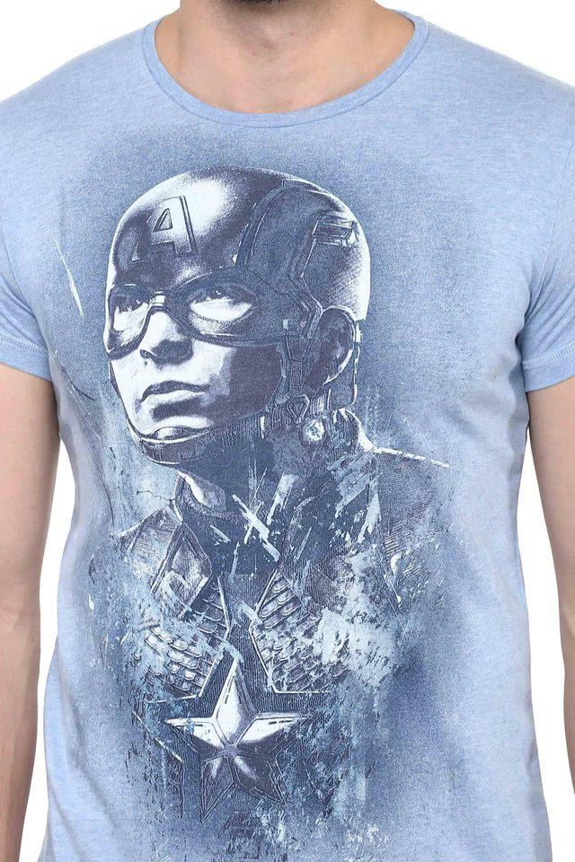 Mens Round Neck Captain America Printed T-Shirt