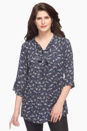 SANAA Womens Tie Up Neck Printed Top