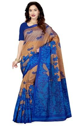 ISHIN Womens Printed Art Silk Saree