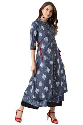 Womens Cotton A Line Kurta With Ethnic Jacket