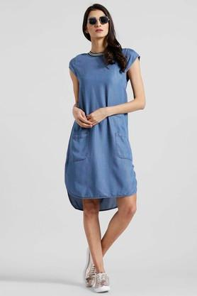 Womens Round Neck Solid High Low Dress