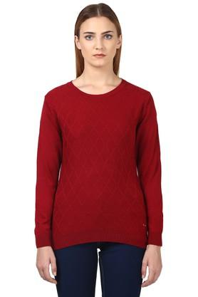 PARK AVENUE Womens Round Neck Self Pattern Sweater