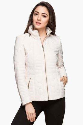 GIPSY Womens Zip Through Neck Solid Quilted Jacket