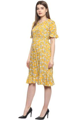 Womens V Neck Printed Midi Dress