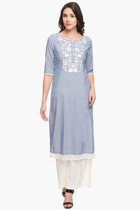 KASHISH Womens Round Neck Slub Embroidered Kurta