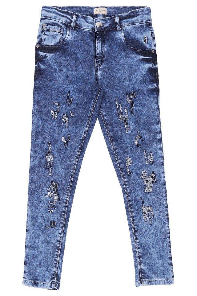 Girls 5 Pocket Embellished Jeans