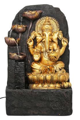 Ganesha Fountain with Yellow Light