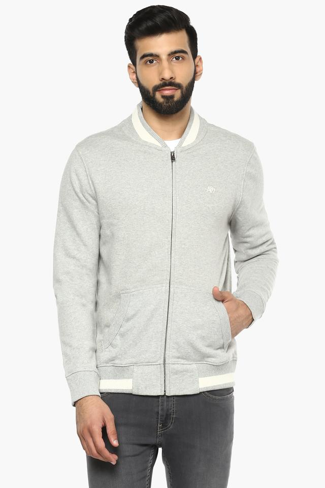 Mens Zip Through Slub Sweatshirt