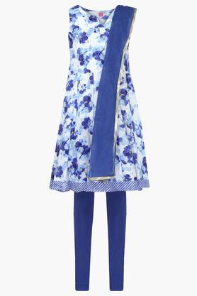 Girls Notched Neck Floral Print Churidar Suit