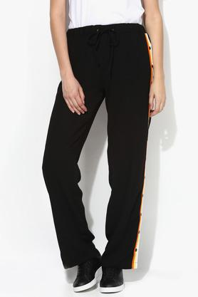 Womens 2 Pocket Solid Side Taped Pants