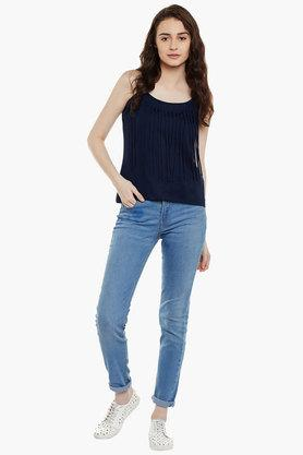 Womens Spaghetti Neck Slim Fit Fringe Solid Top