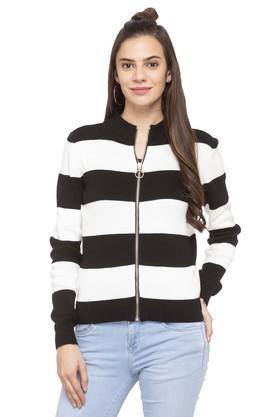 DEAL JEANSWomens Zip Through Neck Stripe Sweater