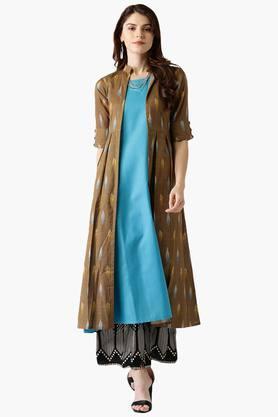 LIBASWomens Cotton Printed A-Line Kurta With Jacket