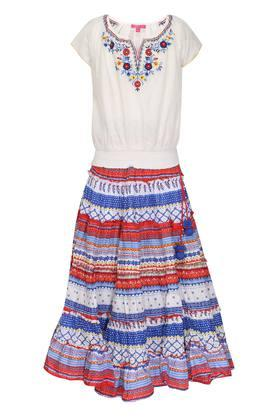 Girls Round Neck Printed Skirt and Top Set