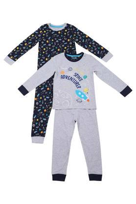 Boys Round Neck Printed Pant and Tee Set Pack of 2