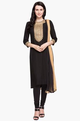 IMARAWomens Round Neck Embellished Regular Fit Kurta, Churidar And Dupatta Set