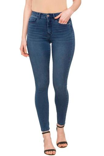Womens Skinny Fit 5 Pocket Heavy Wash Jeans