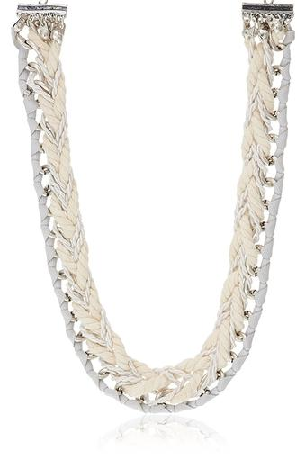 Womens Twisted Rope and Metallic Necklace