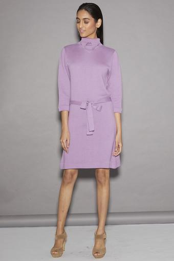 Women Turtle Neck Slub Knee Length Dress