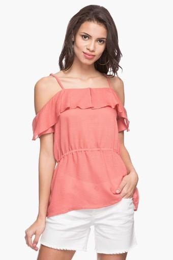 Womens Cold-shoulder Solid Top